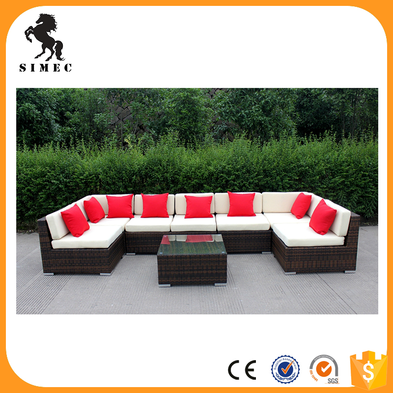 factory hot sale popular style low cost outdoor wicker rattan furniture garden rattan sofa patio sun lounge SCSF-126