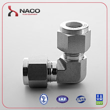 SS316 Hydraulic 90 Degree Elbow Union Connector For Gas