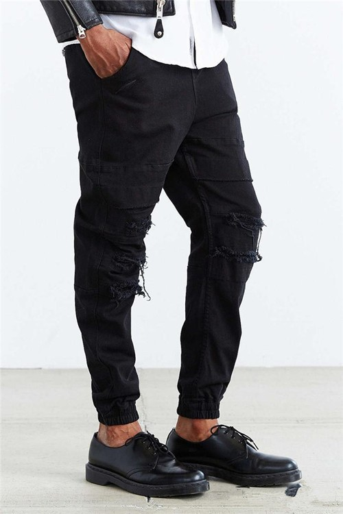 Fashion Men's Jeans Casual Jean Trousers Straight Denim Jeans black Biker Jeans, 100% Cotton, hole repair