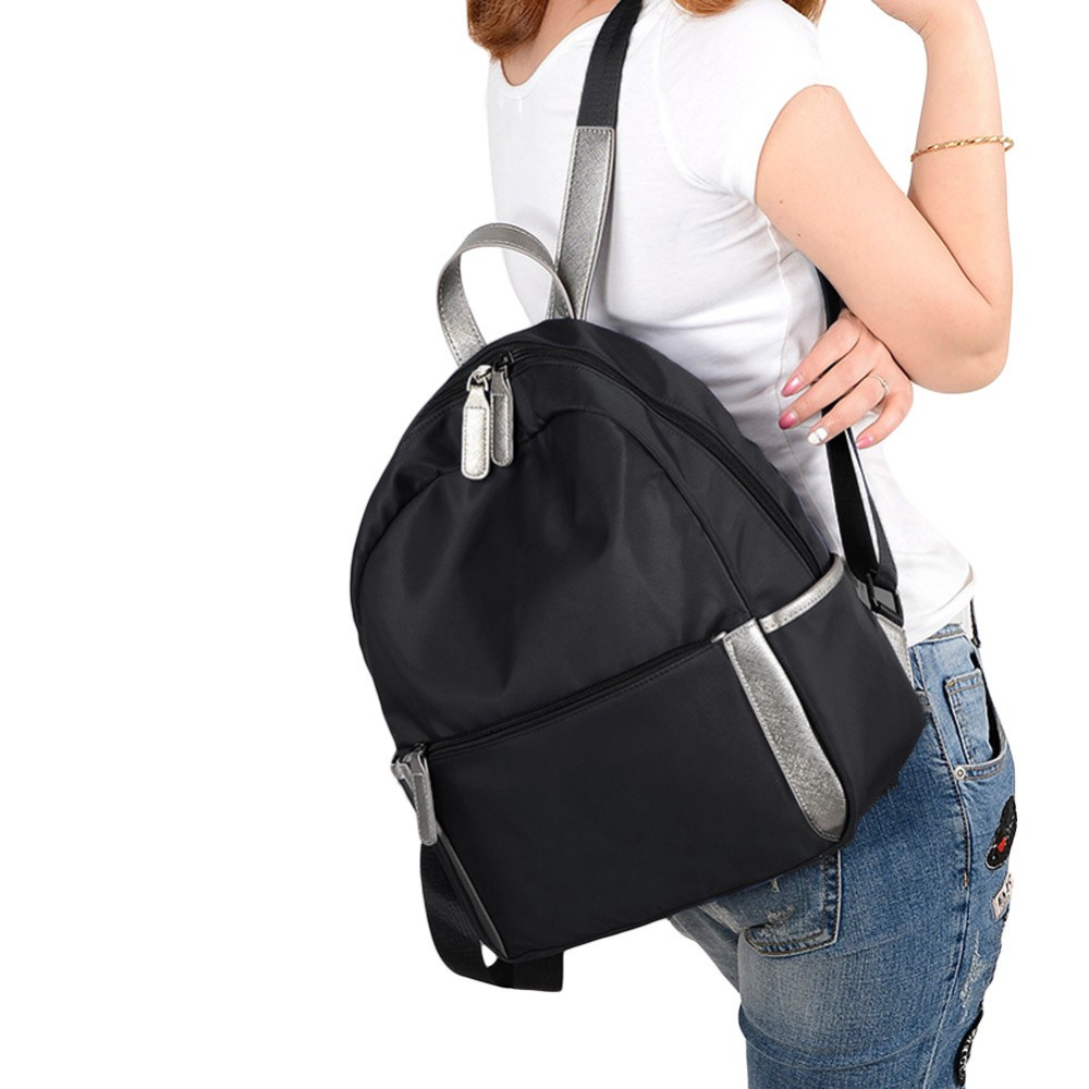 Fashion Women Water-Proof Nylon Backpack Grab Handle Zip Closure Pockets Travels School Bags