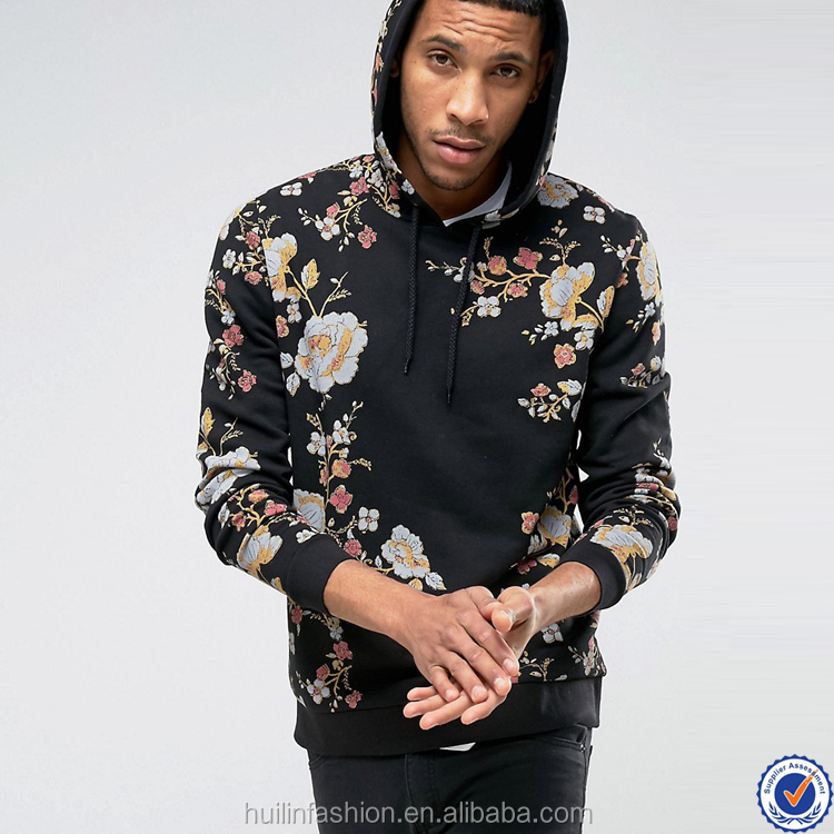 fashion clothing men 100% cotton pullover floral print bulk hoodies