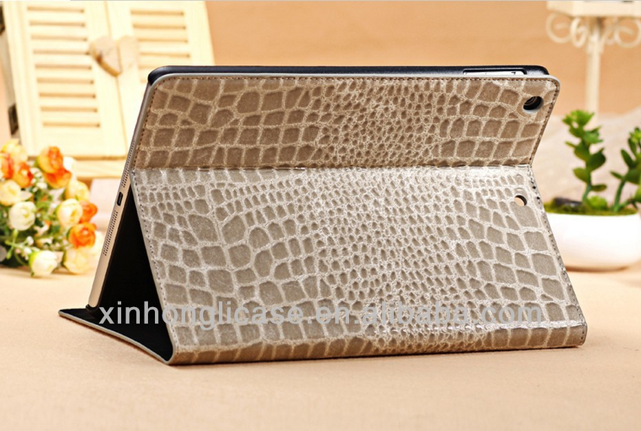 Wholesale crocodile Leather flip Stand case for ipad Air/for ipad 5
