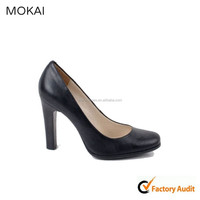 MK009-1-Black women ladies high quality shoes, Italian leather shoes women, office lady factory price shoes