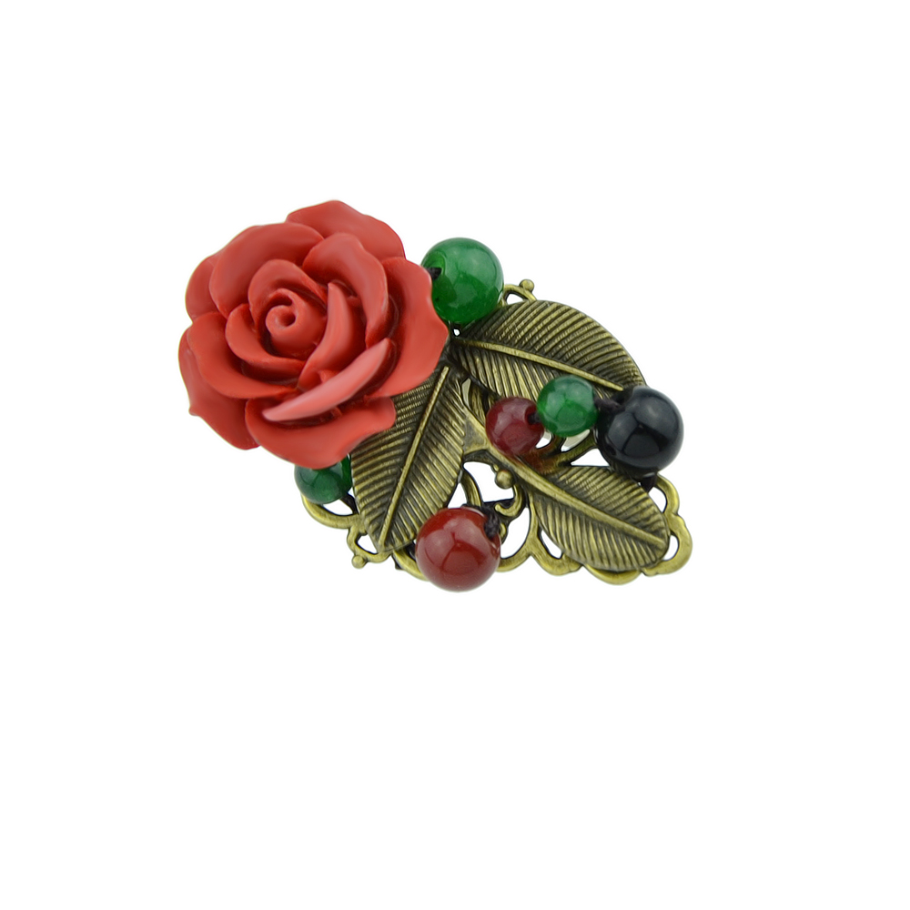 Modern Design Acrylic Beads Flower Women Brooches Jewelry
