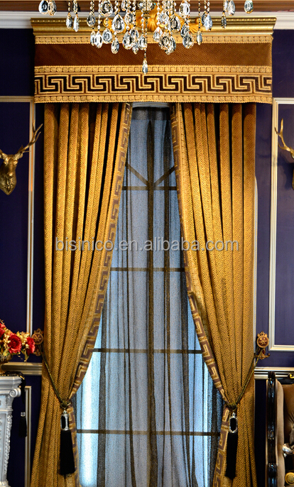 Luxurious Castle Design Soft Gold Living Room Window Curtain, Noble Valance Curtain, Sheer Voile Curtain
