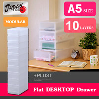 Storage case A5 file box plastic drawer case Japan design modular stackable Offcie Desk Computer Table PLUST FR A510 NW