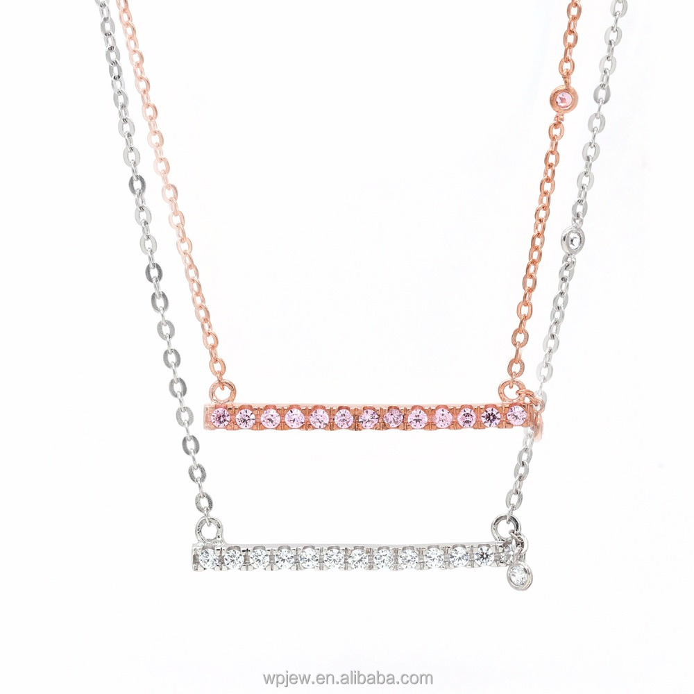 925 Sterling Silver Rectangle Bars with Crystal CZ Stone Polished Fashion Pendant Necklace Jewelry for Women