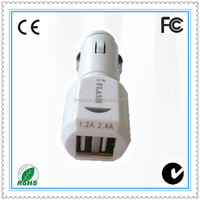 18W 9V 2A Dual USB port high quality car charger for all kinds of mobile phone make in China