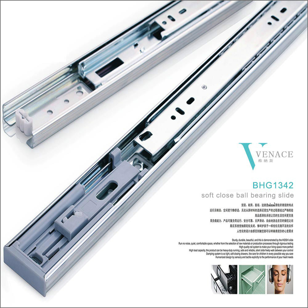 Full extension ball bearing drawer slide with soft closing
