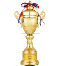 big plastic gold sports trophy cup, replica award trophy with ribbons