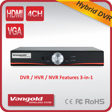 Best Selling Recorder Real Time Recording 1080P 720P Support Max. 4Channel ONVIF AHD, Analog and IP Hybrid DVR