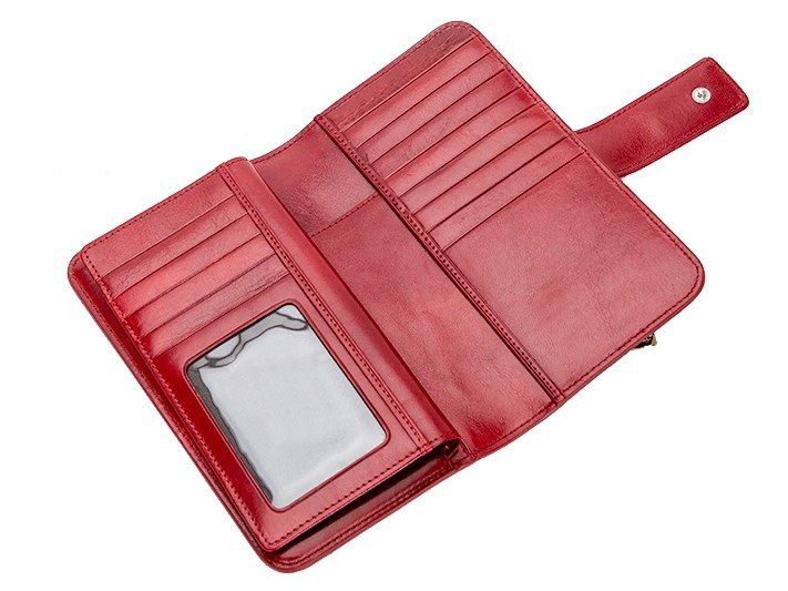 Modern genuine bull hide leather women wallet purse with 12 card pockets and an ID window Bangkok clutch bagwomen long wallet