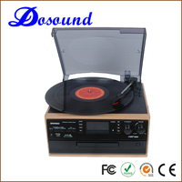 High quality Retro Wooden Bluetooth Vinyl Records with stereo cassette tape player function