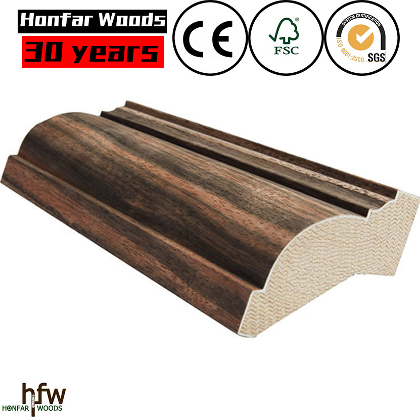 New product 2016 beech MDF Mouldings Baseboard teak wood top layer