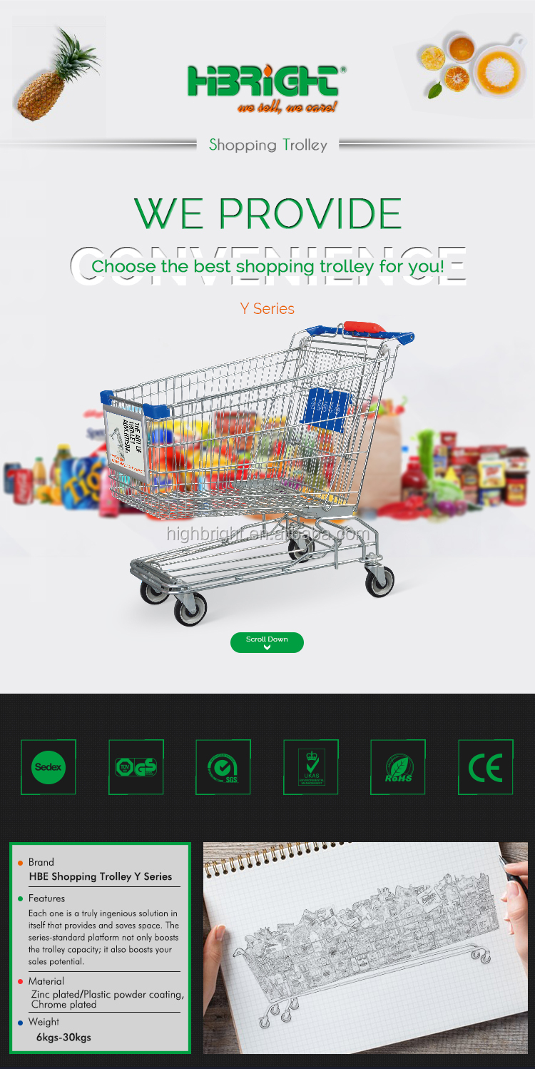 Generic Supermarket High-quality Shopping Trolley Cart