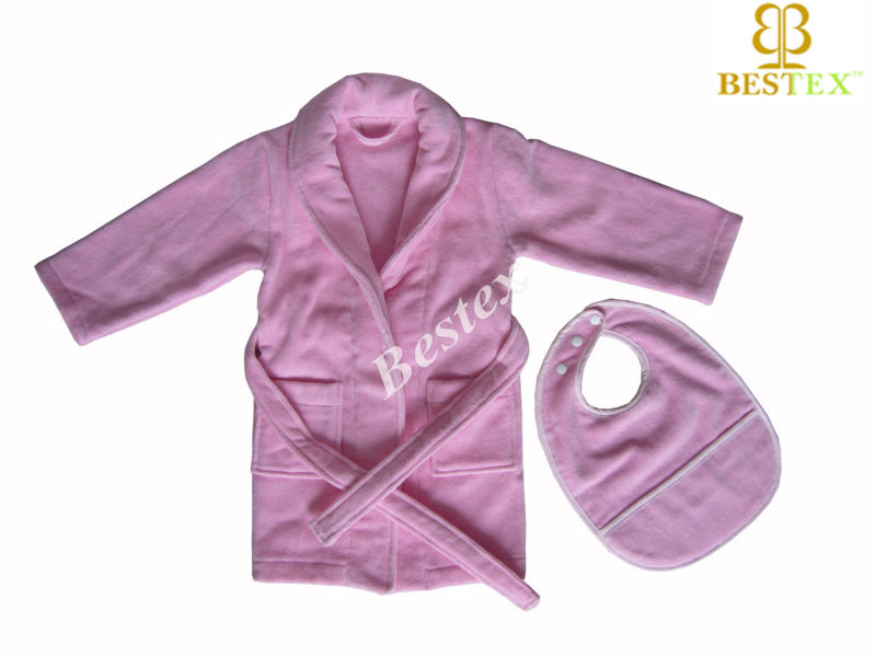 Cute Mini Super soft Pink Tuxedo Home Terry Cotton wholesale kids spa robes