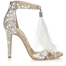 Stellito Rhinestone Beaded Sandals Shoes Women