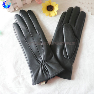 Winter warm women fake leather gloves PU leather gloves