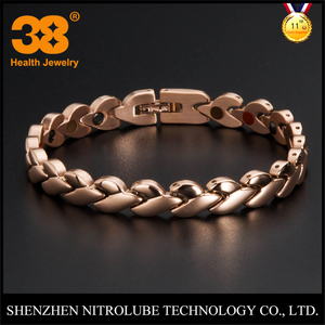 Glazed rose gold plated stainless steel titanium heart ear of wheat link magnetic FIR 5 in 1 energy bracelet health jewelry set