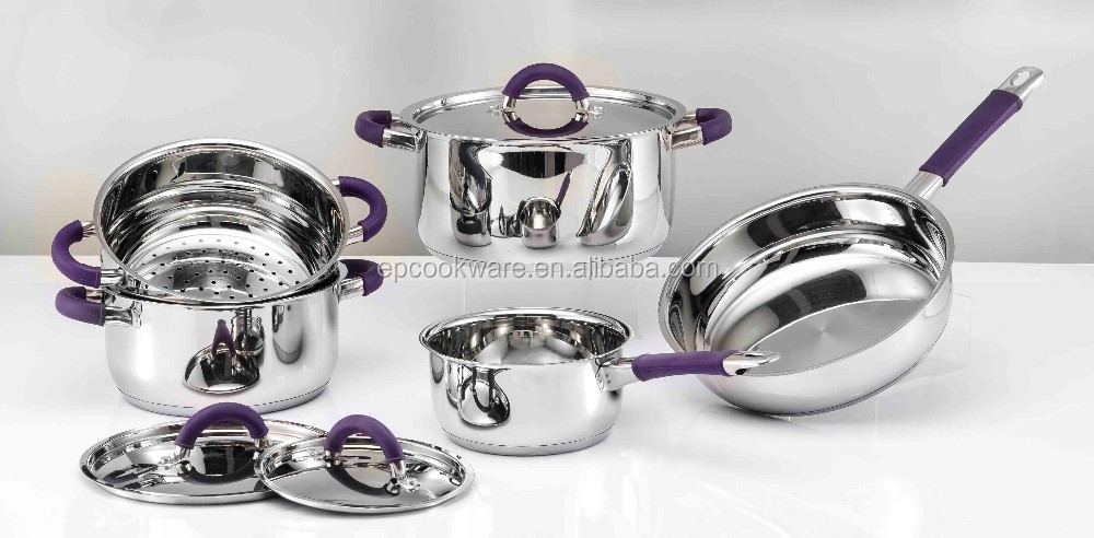 9pcs Qualified best price cookware set with purple silicone handle impacting bonding
