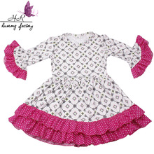 Kids clothes wholesale China cool printed dress children frocks designs girls skirt long sleeve and dot lace