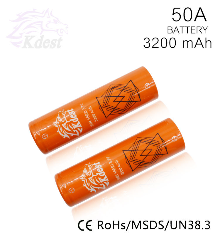 Newest Orange KDEST 3200mAh 18650 3.7v 35Amps Max 50A Discharge Battery Fits for all kinds of Vape Mods