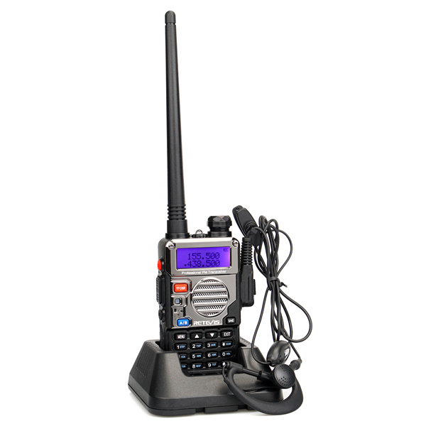 Retevis RT-5RV 5W 128CH Dual Band Walkie Talkie VHF/UHF136-174/400-520MHz Transceiver Handheld FM Two way Radio <strong>w</strong>/ Free Earpiece