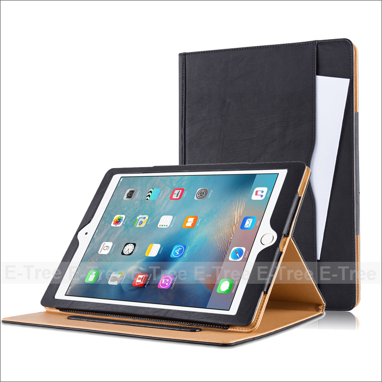 2016 New Stylish Multifunctional Ten Leather Stand Case Cover For Ipad Pro
