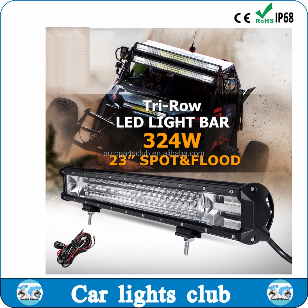 OEM Good Quality IP67 6000K 324W double rows curved led light bar car spot lamp
