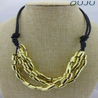OU5357 necklaces best girlfriends,china jewelry wholesale,beats.by dr.dre,Gold Pipes Bib Necklace