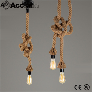 American country style loft retro hemp rope chandeliers industrial pendant lamp
