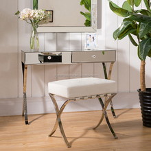 Stainless Steel Legs Mirror Dressing Table With Make Up Stool