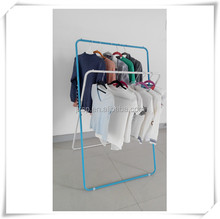Metal double pole display folded clothes hanging rack