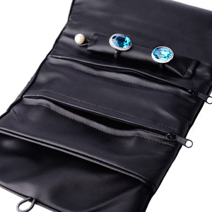 Oirlv New Fashion PU leather pouch black packing for wholesale jewelry roll for package