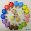 Wholesale feeding supplies baby silicone wooden beads pacifier holder clip,factory funny metal clip chain toy