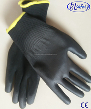 thin liner coated pu gloves made in China yellow cuff trim