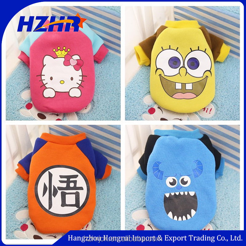 2017 wholesale Pet dog Apparel cartoon plush dog clothes winter, fleece dog hoodie