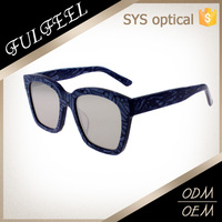 Modern fashion flat top emeralds acetate sunglasses for women