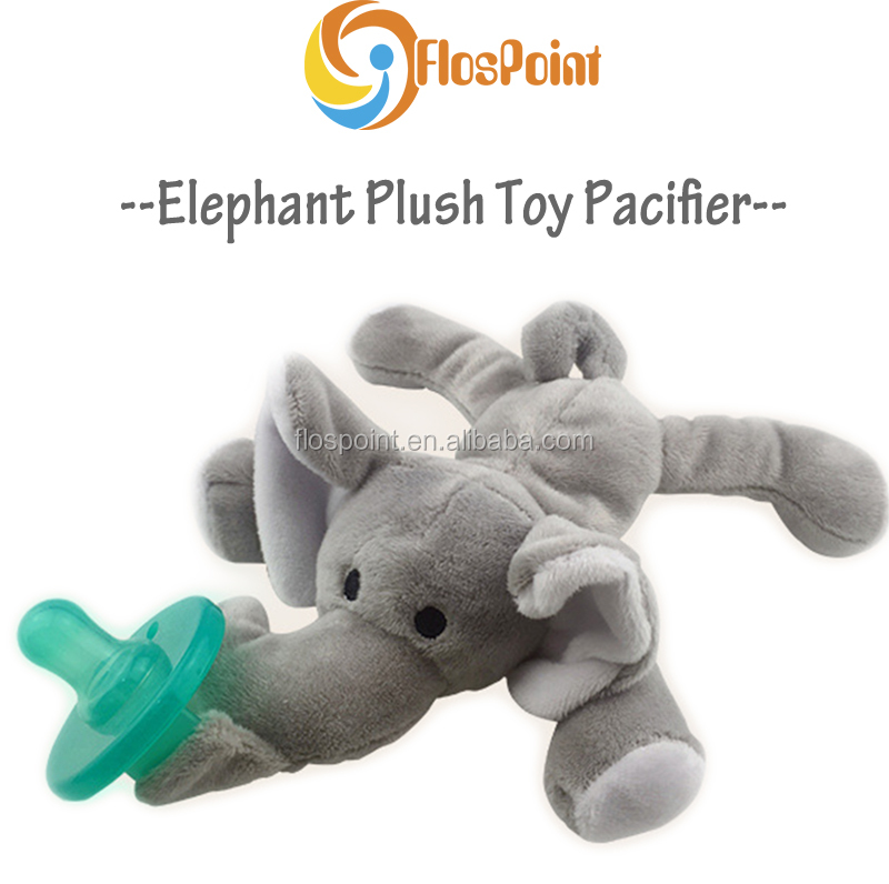 High quality Wholesale Cotton Elephant Plush Pacifier Toy For Infant