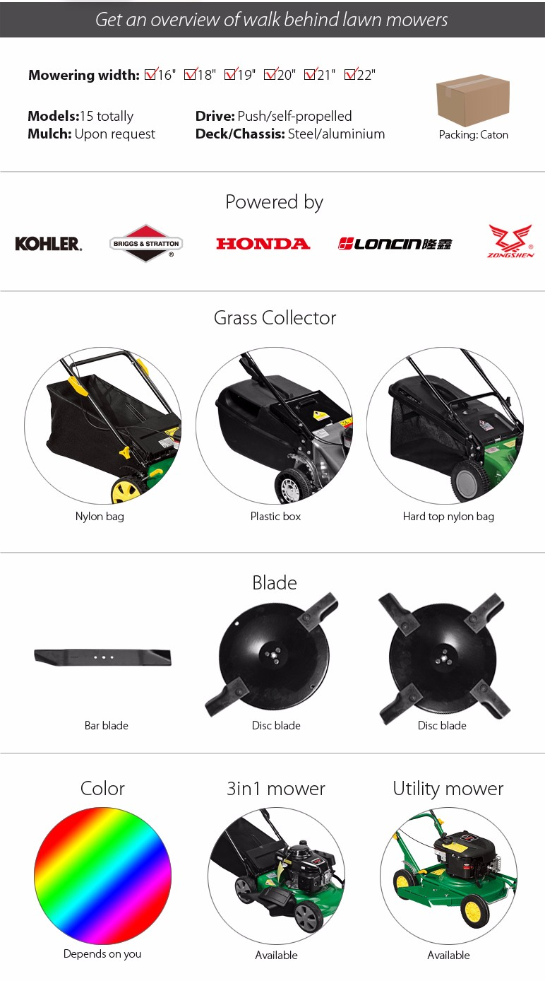 22 inch SELF-PROPELLED steel lawn mower with Loncin engine front caster 558mm cutting width