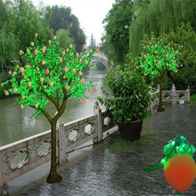 Outdoor man made LED fruit tree green wire lighted christmas trees