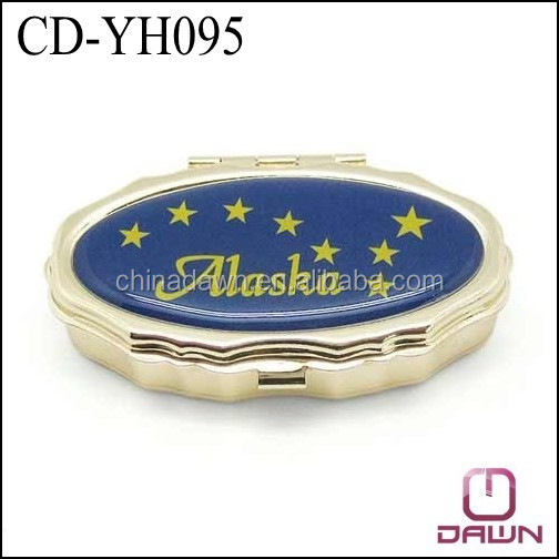 Metal square lip balm box gold color with mirror CD-YH095