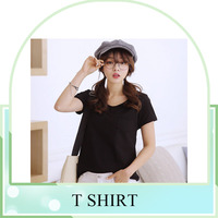 new summer ladies fashion short sleeve slimfit v-neck plain t-shirt blank t-shirt oversize with pocket