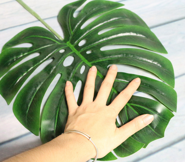 Giant Artificial Latex green plant leaves Monstera dry leaves