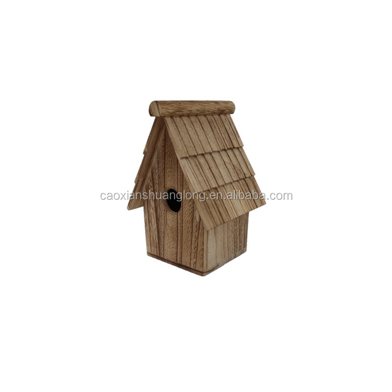 Burned color eco friendly wooden bird house