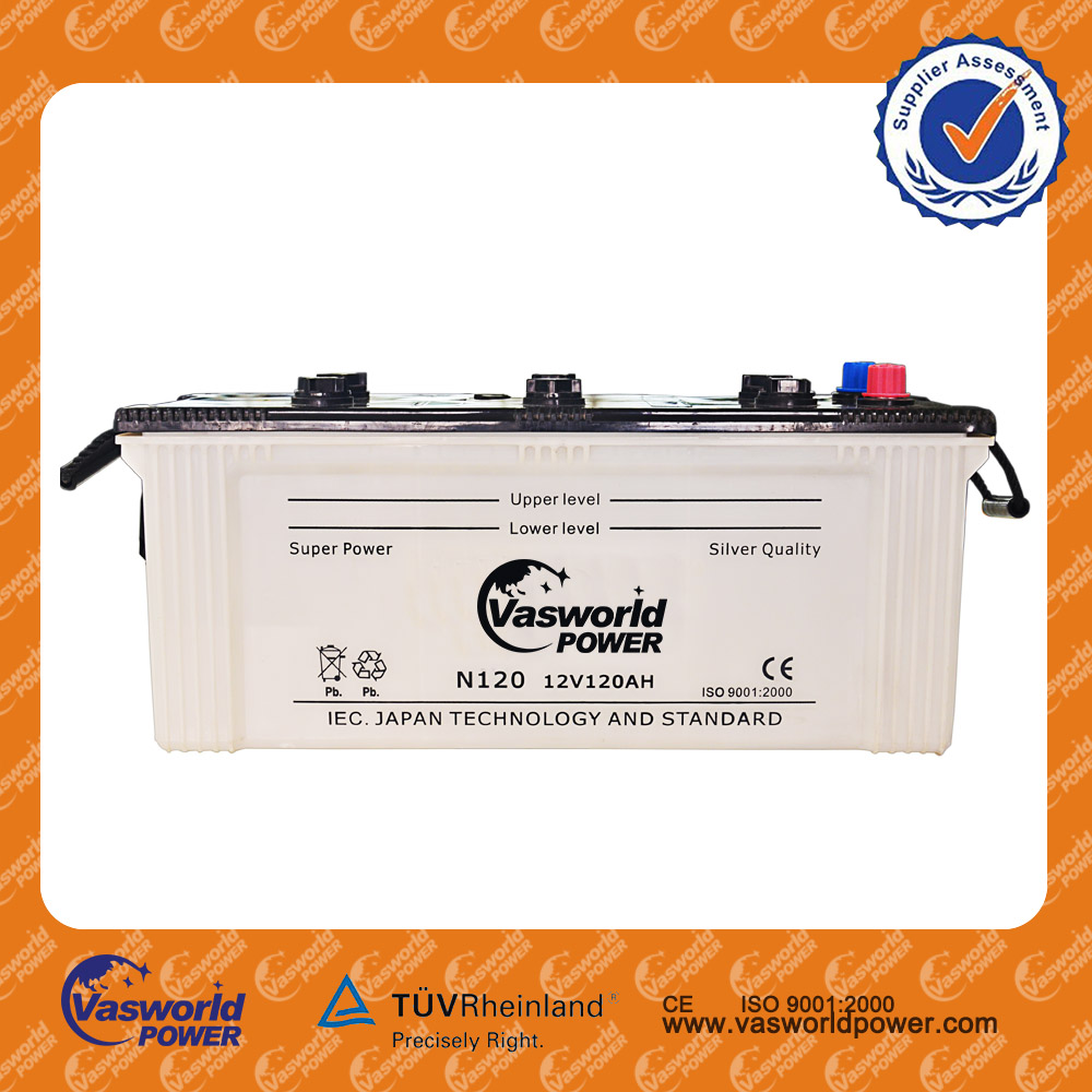 high quality 12V 120AH car battery/JIS dry charged Stable excellent quality battery