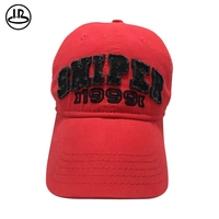 China cheap practical red cotton twill material custom hat embroidery