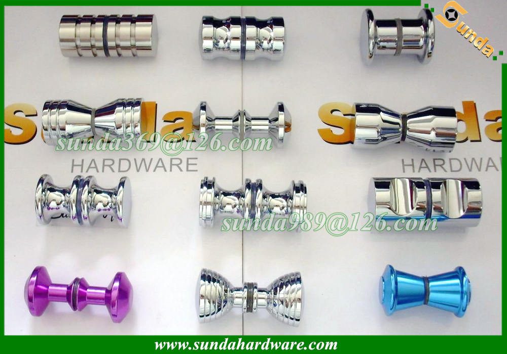 diferent designs colorful shower door handle knobs