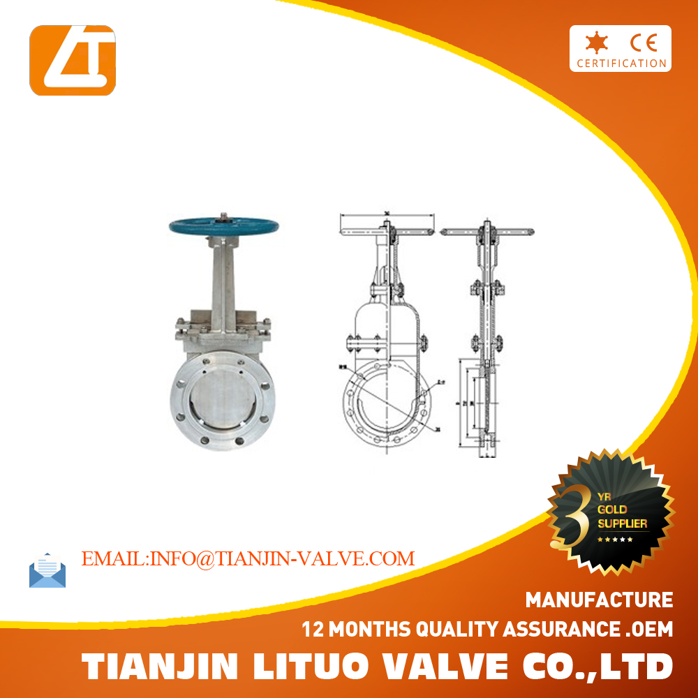 SS304 knife gate valve wafer handwheel knife gate valve DN150 PN10 PN16