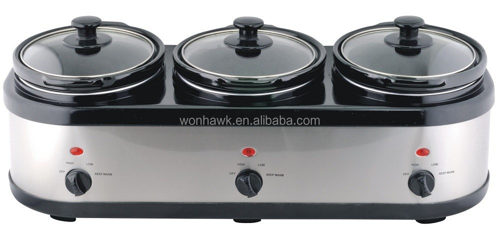 hot selling 3x1.6qts stainless steel tripe slow cooker with Round Pots and Lid Holder